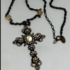 Liz Palacios Rhinestone Swarovski Cross Necklace